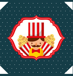 Seller man and popcorn carnival fun fair retro vector