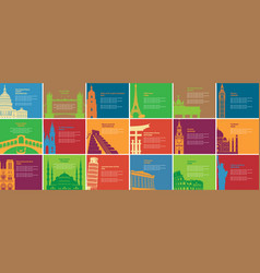 Set banners with different historical sites vector
