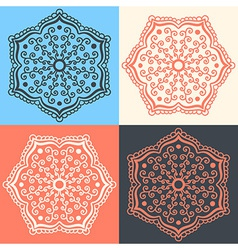 Set of abstract flowers in different colors vector