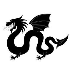 Silhouette heraldic dragon vector