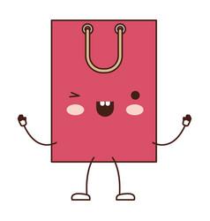 square animated kawaii shopping bag icon with vector image