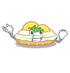 Successful cartoon lemon cake with lemon slice vector