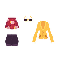 summer outfit - jacket skirt shorts sunglasses vector image