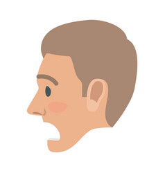 Surprised man face flat icon vector