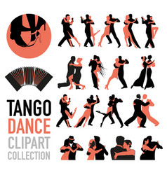 Tango dance clipart collection set couples of vector