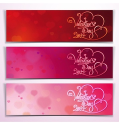 Three Valentine 2014 Banners Red Pink vector image