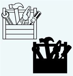 Toolbox with tools vector