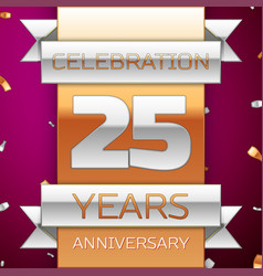 Twenty five years anniversary celebration design vector