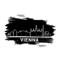 vienna skyline silhouette hand drawn sketch vector image
