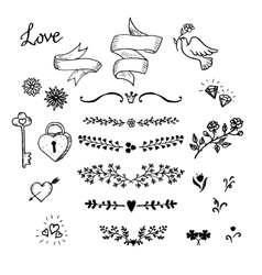 Wedding hand made graphic set flowers ribbons and vector