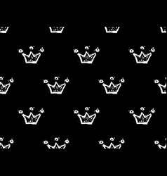 white crowns on black background seamless doodles vector image