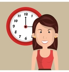 Woman clock cup coffee vector