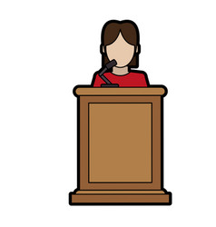 woman speaking on podium icon image vector image