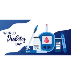 world diabetes day banner or flyer with insulin vector image