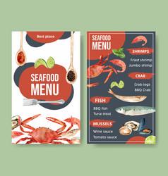 World food day menu design with crab shrimp clam vector