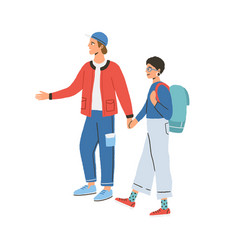 young happy modern couple during traveling man vector image