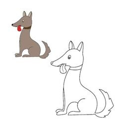 dog sits Coloring vector image vector image