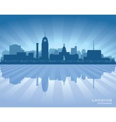Lansing Michigan city skyline silhouet vector image vector image