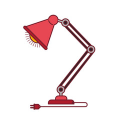 colorful graphic of modern desk lamp with dark red vector image vector image