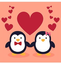 Cute Penguin Couple Cartoon Heart vector image