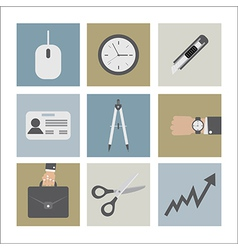 Flat Design Office Icons vector image vector image