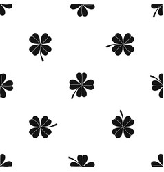 four leaf clover pattern seamless black vector image