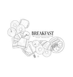 Full English Breakfast Set Hand Drawn Realistic vector image vector image