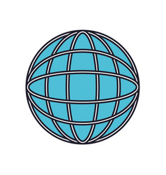 globe world icon colorful silhouette with thick vector image