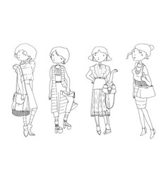 set with hand drawn fashion girls in casual vector image vector image