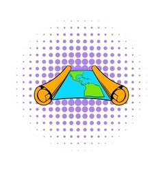Ancient scroll with map icon comics style vector image vector image