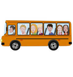 kids riding a school bus vector image