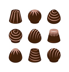 set of chocolate candies isolated vector image