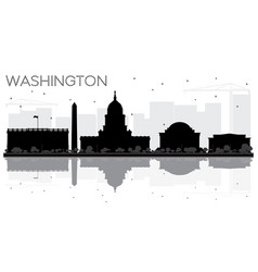 washington dc city skyline black and white vector image vector image