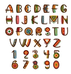 African ethnic primitive font Hand drawn brightly vector image