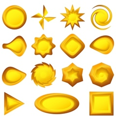 Buttons different forms gold set vector image vector image