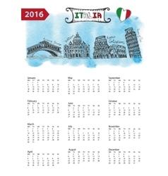 Calendar 2016italy landmarks skylinewatercolor vector