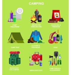 Camping and barbecue object vector image vector image