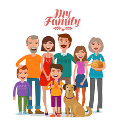 family portrait happy people parents and vector image