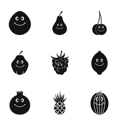 fruit character icon set simple style vector image