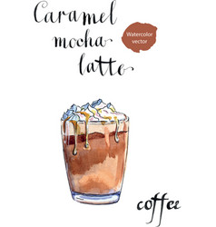 glass of caramel latte coffee with whipped cream vector image vector image