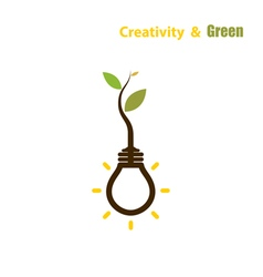 Plant growing inside the light bulb vector image vector image