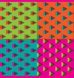 4 colors of seamless triangle memphis pattern vector