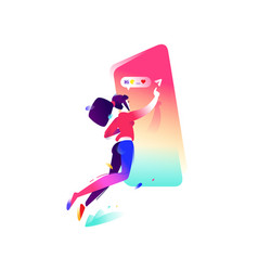 a girl and a smartphone flat icon the girl is vector image