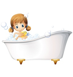 A girl on the bathtub vector image