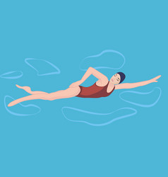 A girl swimming in a pool vector