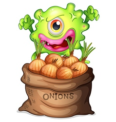A monster and a sack of onions vector image
