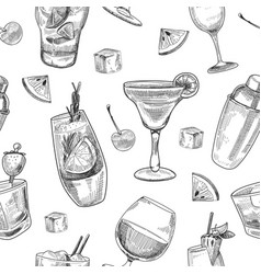 alcoholic cocktails pattern vector image