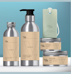 Aluminum beverage or beauty packaging set vector