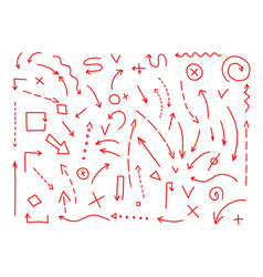 arrows drawing set painted by hand red lines in vector image