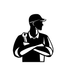 Automotive mechanic holding spanner arms crossed vector